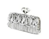 Silver Wedding Clutch, Bridesmaids Clutch, Evening Bag with Large Acrylic Diamond Cut Knobs