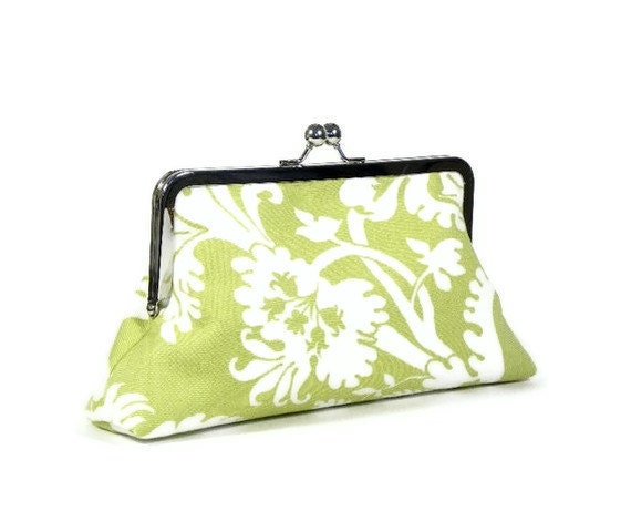 SELBY - Bridesmaid Clutch - SWD Classic Day Clutch - Celery and White