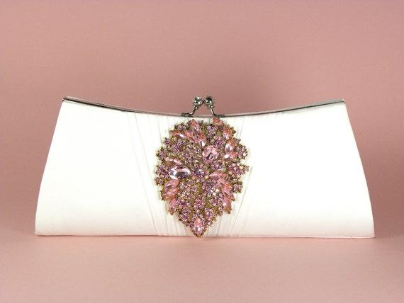 Ivory Bridal Clutch, Wedding Clutch, Rhinestone Bridal Clutch, Wedding Accessories, Pink Crystal Rhinestone Brooch