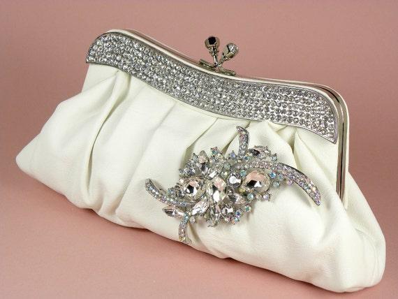White Bridal Clutch, Faux Leather, Wedding Clutch, Rhinestone Clutch, Wedding Accessories, Bridal Accessries