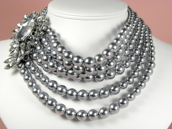 Reserved for Stephanie - Gray Pearl Necklace, Chunky Pearl Necklace, Multi Strand Pearl Necklace, Pearl Statement Necklace