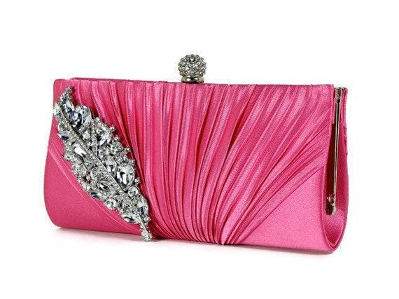 Fuchsia Clutch, Crystal Bridal Clutch, Evening Bag, Rhinestone Clutch, Wedding Clutch, Bridesmaids Clutch, Formal