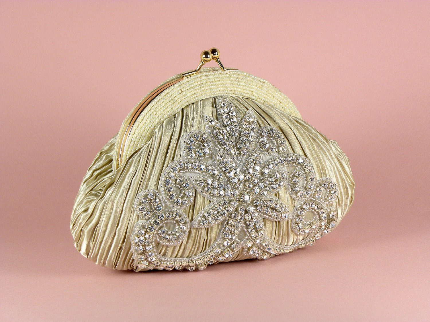ADELAIDE Ivory Taupe Bridal Bridesmaid Clutch Purse Evening