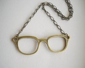 I Heart Glasses - A Kitschy Necklace in Antiqued Brass