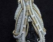 Moldavite and Sunstone pendant
