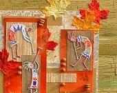 "Aboriginal - original collage. Framed mixed-media artwork.20.5""x20.5"". Free shipping"