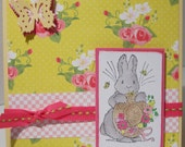 Bright yellow EASTER or SPRING Bunny  OOAK card