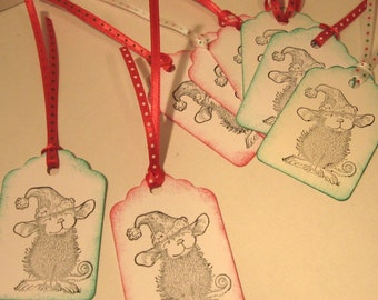 Cute FESTIVE Mouse Tags - set of 8