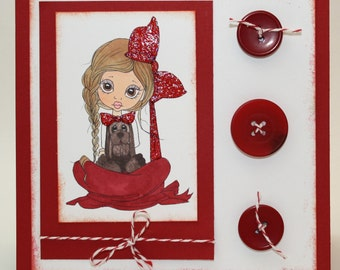 Girl and her puppy - Red and white  -  OOAK card