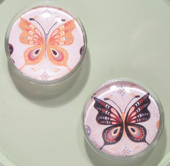 Glass magnets - set of 2 - gorgeous BUTTERFLIES - very strong