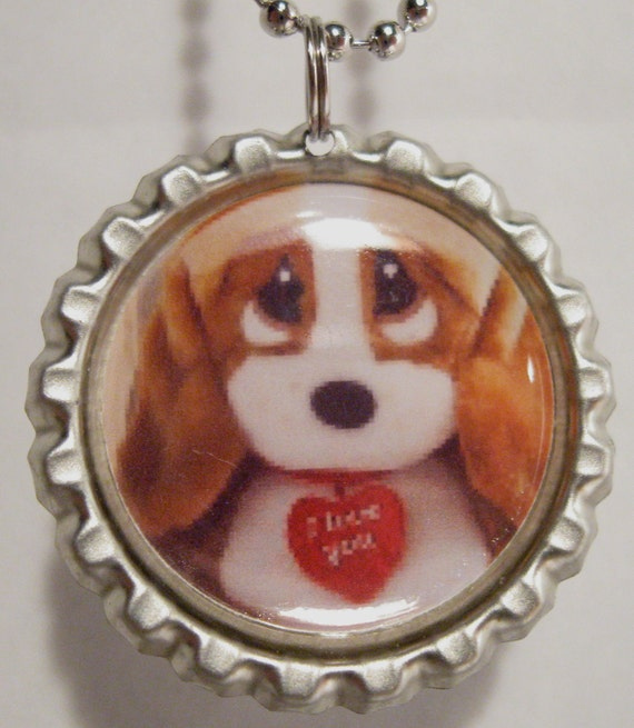cute sweet sad PUPPY I LOVE you  bottlecap necklace, pendant, with ball chain