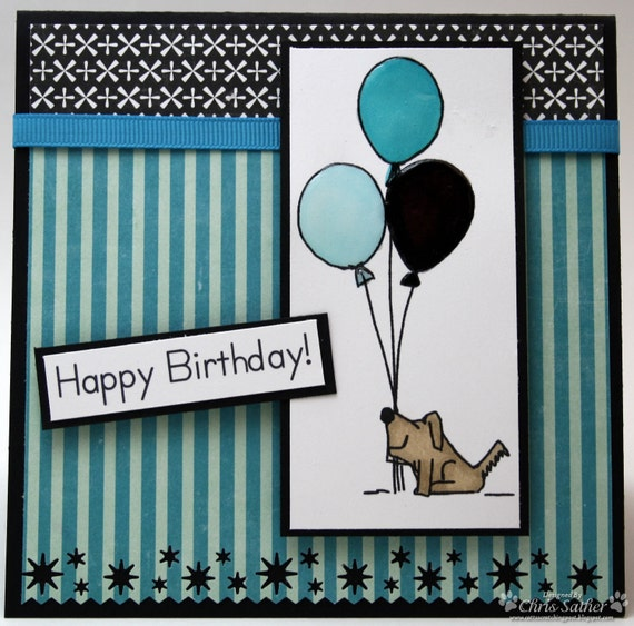 Happy Birthday Puppy with balloons birthday card, OOAK