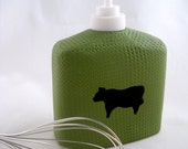 Kitchen soap dispenser green with black cow simple textured