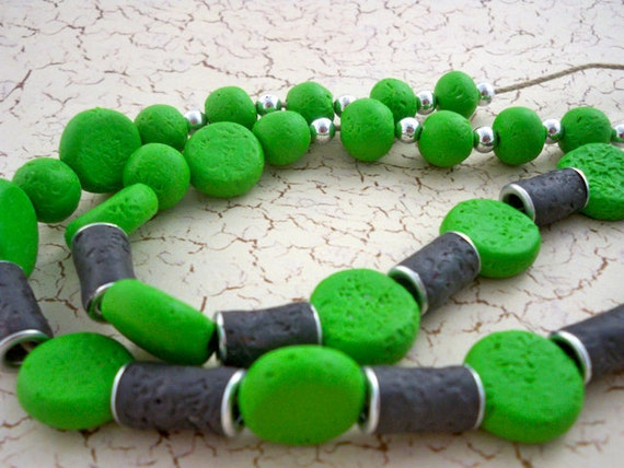 Lime green lava beads with gray organic necklace handmade