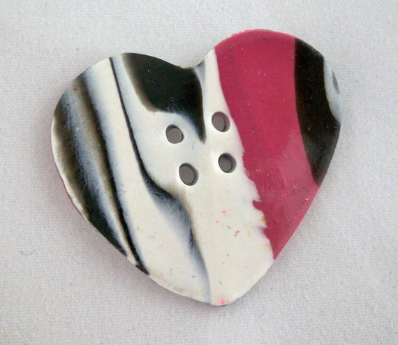 Heart button clay black pink white large button