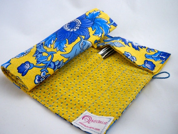Yellow and blue floral crochet hook storage makeup brush roll up