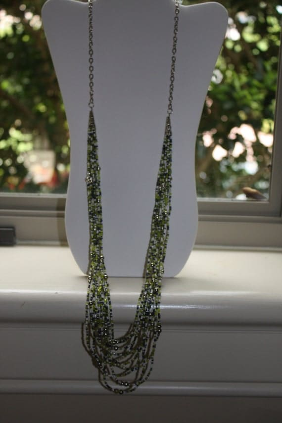 NEW LONG Multistrand seed bead Necklace in green tones