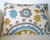 Lumbar Pillow, Decorative Throw Pillows, Cushion Covers, Gray Citrine Aqua on Natural Cream Suzani Grey - One 12 x 16 or 12 x 18