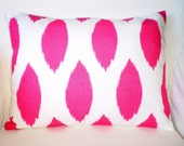 Pink White Pillows, Decorative Pillow Lumbar Cushions Throw Pillows, Pink White Ikat Chipper, Hot Pink Couch Bed, One 12 x 16 or 12 x 18