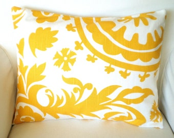 Yellow Pillow Cover, Decorative Throw Pillow, Cushion Cover, Lumbar Corn Yellow and White Suzani, Couch Bed Sofa Cushion, 12 x 16 or 12 x 18