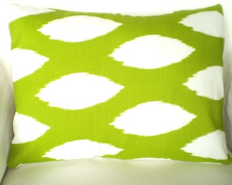 Green Ikat Lumbar Pillow Cover, Decorative Throw Pillow, Cushion Cover Green White Ikat Oval Chaz, Couch Bed Sofa Pillow, 12 x 16 or 12 x 18