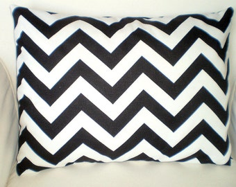 Black Chevron Pillow Cover, Decorative Throw Pillow, Cushion Cover, Black White Zig Zag Lumbar, Couch Bed Sofa, One 12 x 16 or 12 x 18