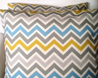 Chevron Decorative Throw Pillow Cover, Cushion Covers, Aqua Gray Citrine Cream Zig Zag Chevron Zoom Zoom One or More All Sizes