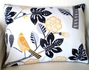 Black Yellow Pillows, Decorative Throw Pillow, Cushion Cover, Gray Black with Yellow Bird Small Talk, Lumbar 12 x 16