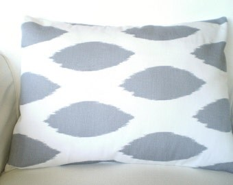 Gray Lumbar Pillow Cover, Decorative Throw Pillow, Cushion Covers, Grey White Ikat Chipper, Couch Bed Sofa Pillow, One 12 x 16 or 12 x 18