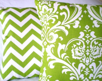 Green Pillow Covers, Decorative Throw Pillow, Cushion Covers, Lime Green White Damask Chevron Zig Zag Green Pillows, Combo Set Various Sizes