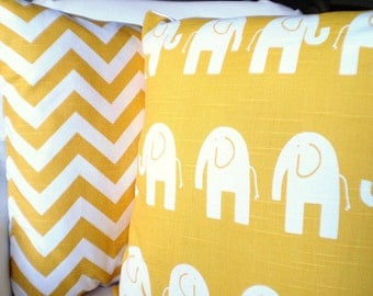 Yellow Elephant Pillow Covers, Childrens Pillow, Nursery Pillows, Cushion Covers Corn Yellow White Elephant, Baby Pillow, Combo Set 16 x 16