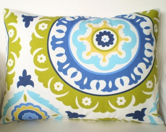 Pillow Cover Decorative Pillows Throw Pillow Lumbar Pillow Cushion Covers Lime Green Aqua Yellow Blue Suzani BOTH SIDES - One 12 x 16
