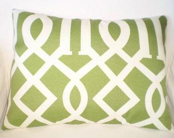 OUTDOOR Pillow Cover, Decorative Pillows Throw Pillow Cushion Cover Lumbar Moss Green Cream Trellis  One 12 x 16 or 12 x 18