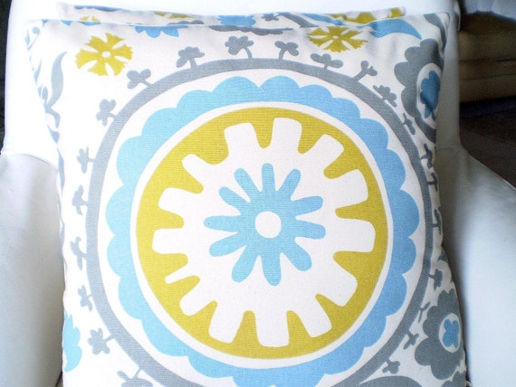 Blue Gray Pillow Covers, Decorative Throw Pillows, Cushions Grey Citrine Aqua Cream Suzani Euro Sham, Couch Bed Sofa One or More ALL SIZES