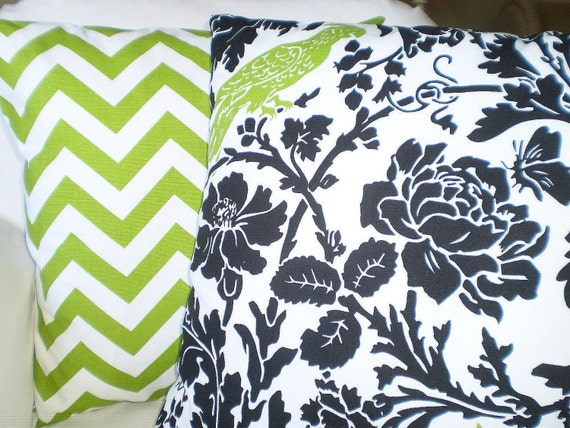 Black White And Green Throw Pillows : Black Green Pillows Decorative Throw Pillows by fabricjunkie1640
