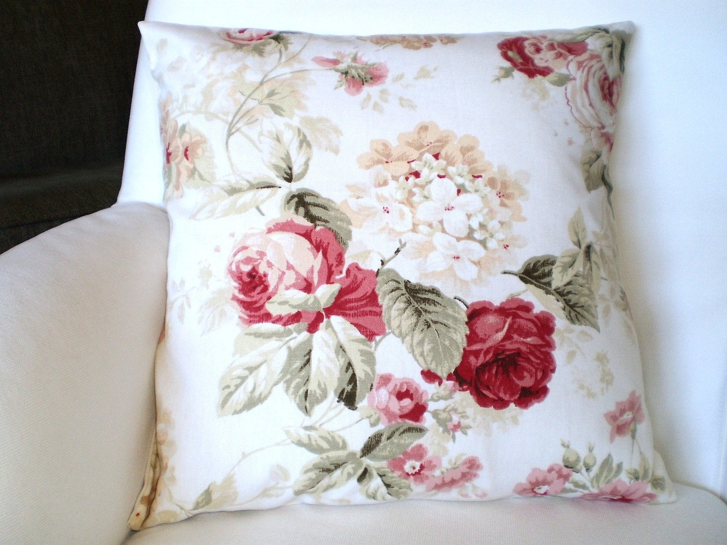 Throw Pillow Cushion Cover 16 x 16 Shabby Chic by FabricJunkie1640