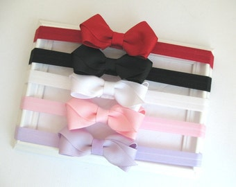 Baby Bow Headband Set ~ Set of 3 or 5 ~ Baby Girl Gift ~ Newborn Infant Girl Headbands