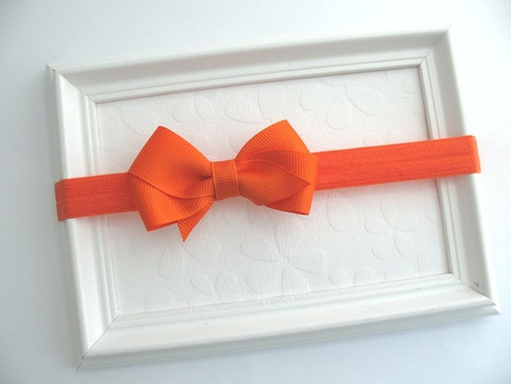Orange Hair Bow Headband for Baby Girls, Halloween Headband, Simple Orange Headband, Newborn, Infant, Baby Girl, Bow Headband