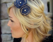Woman's Flower Headband in Navy Blue and Gold