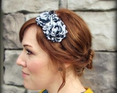Shabby Chic Headband in Black and White Stripes for Women