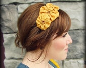 Mustard Headband for Women, Rosette Trio for Adults and Girls