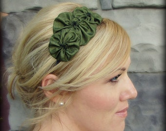 Olive Green Handmade Flower Hair Band - Rosette Trio for Teens and Adults