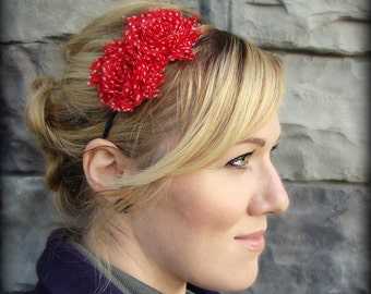 Adult Headband-Red and White Polka Dot Shabby Chic Flower for Women and Girls