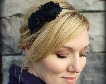 Black Flower Headband, Shabby Chic Double Flower for Women and Girls