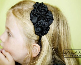 Black Rosette Flower Headband for Women and Girls