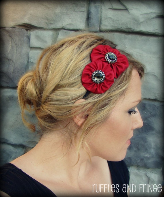 Red Jeweled Flower Headband for Women and Girls
