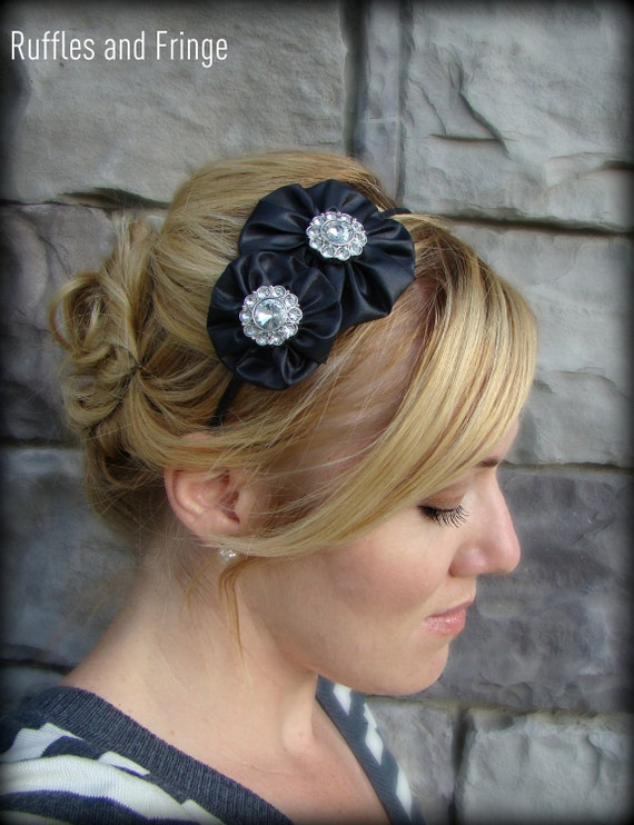Black Headband, Jeweled Double Flower for Adult and Girl