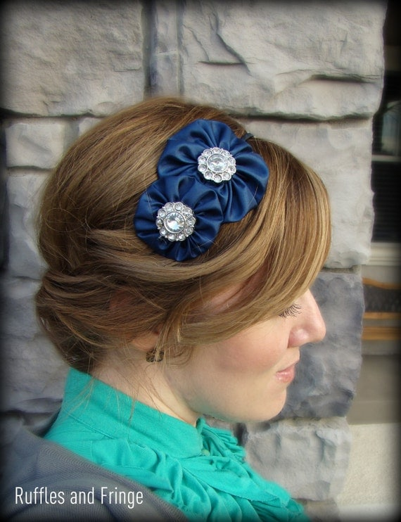 Navy Blue Jeweled Headband, Double Flower for Adults and Girls