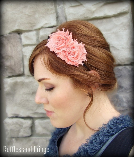 Shabby Chic Headband in Coral for Women and Girls