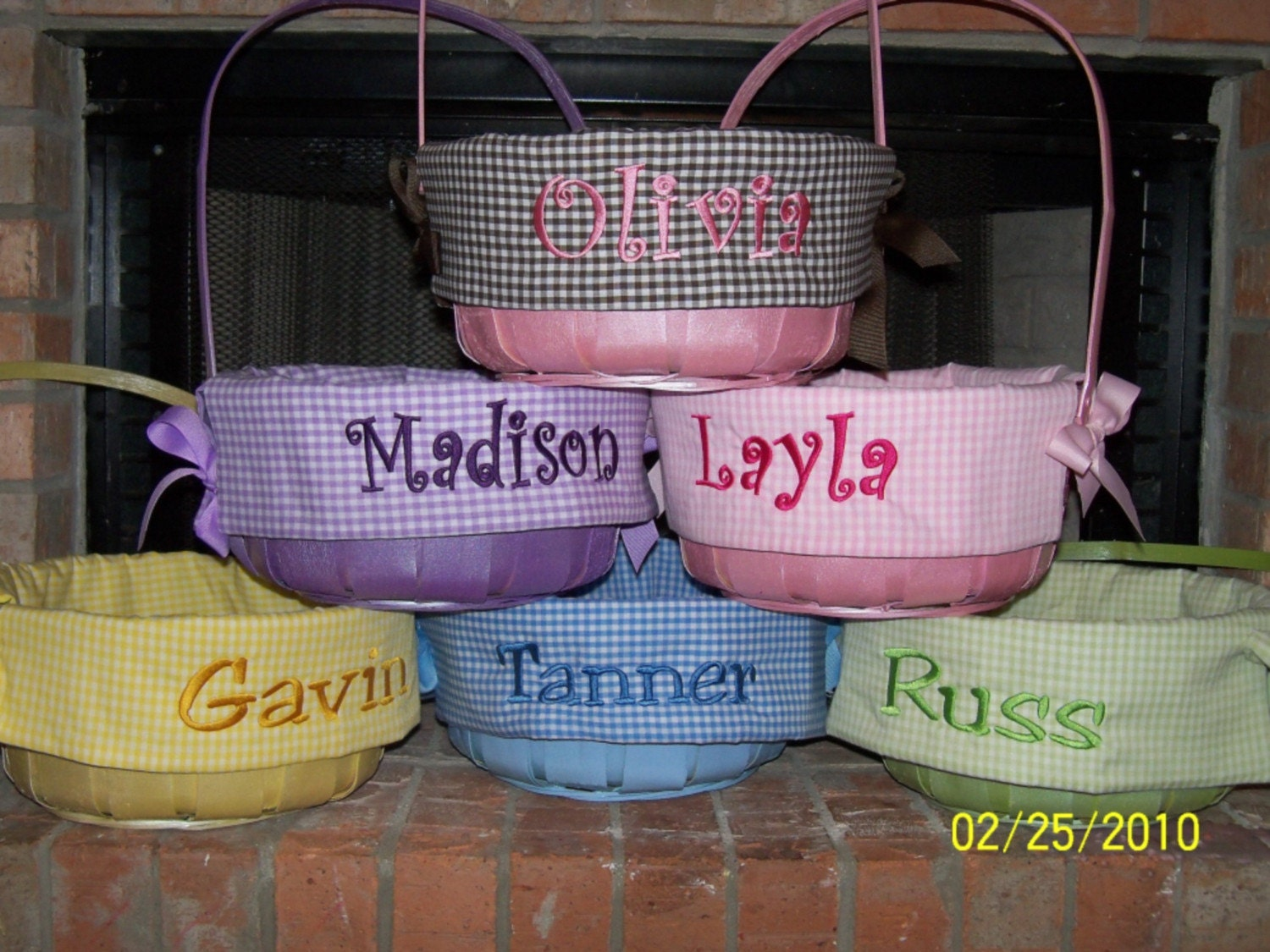 Personalized Easter Basket With Gingham Liner